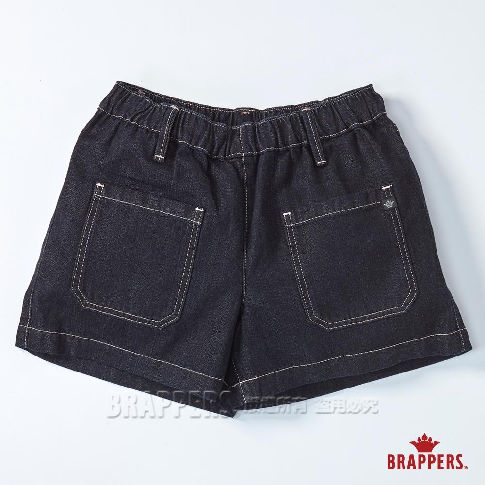 BRAPPERS 女款 Boy friend系列-鬆緊帶天絲棉短褲-深藍