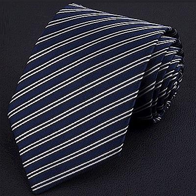拉福   雙藍斜8CM寬版領帶拉鍊領帶