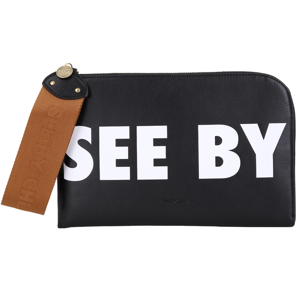 SEE BY CHLOE JORIS 字母標籤織帶拉環牛皮手拿包(黑色)