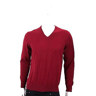 Andre Maurice 喀什米爾暗紅色V領羅紋細節羊毛衫(男款)
