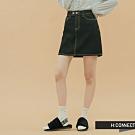 H:CONNECT 韓國品牌 女裝-車線設計牛仔短裙-黑