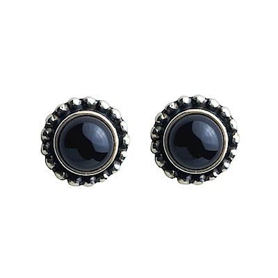 Georg Jensen # 9 黑瑪瑙純銀針式耳環