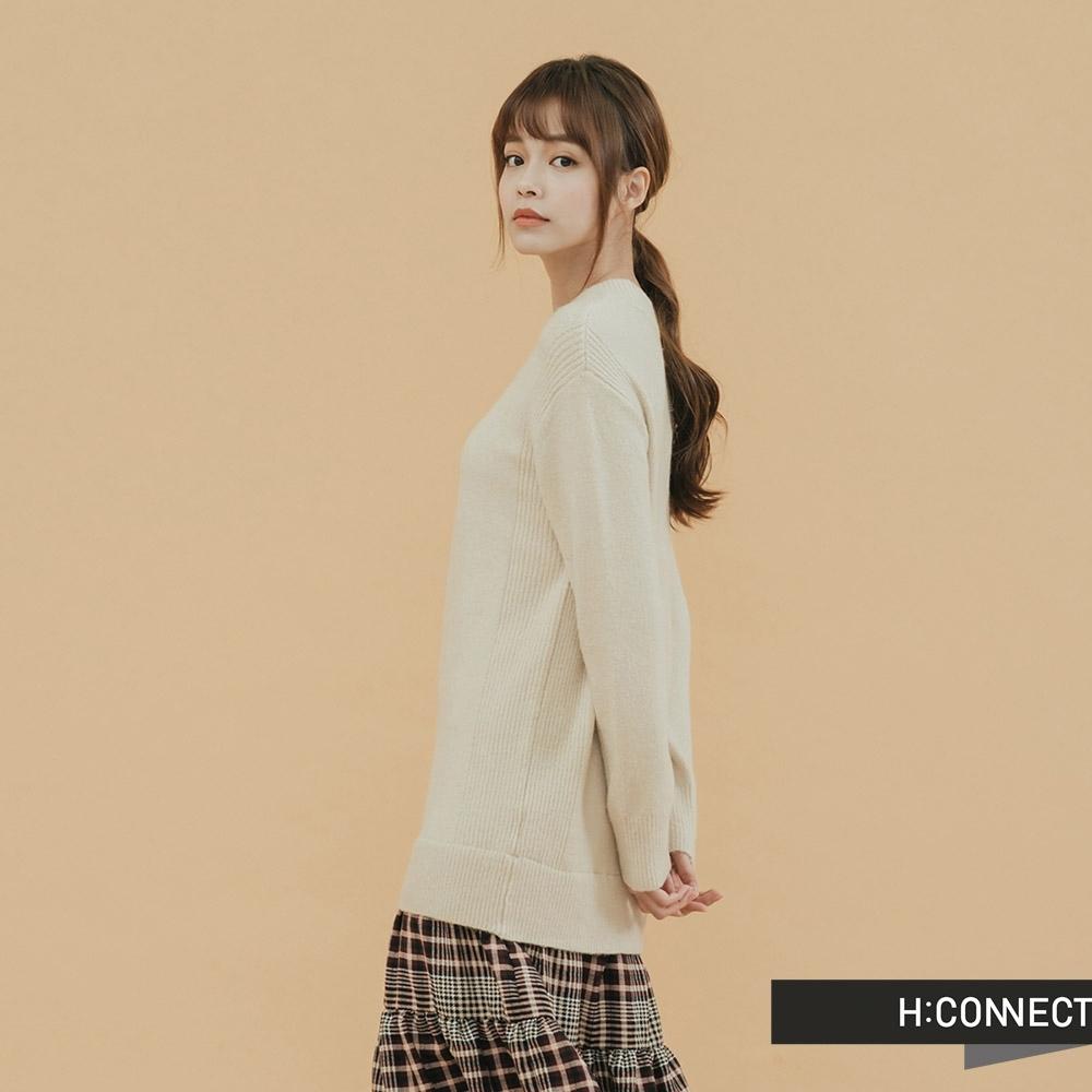 H:CONNECT 韓國品牌 女裝 - 格紋拼接針織洋裝 - 米白