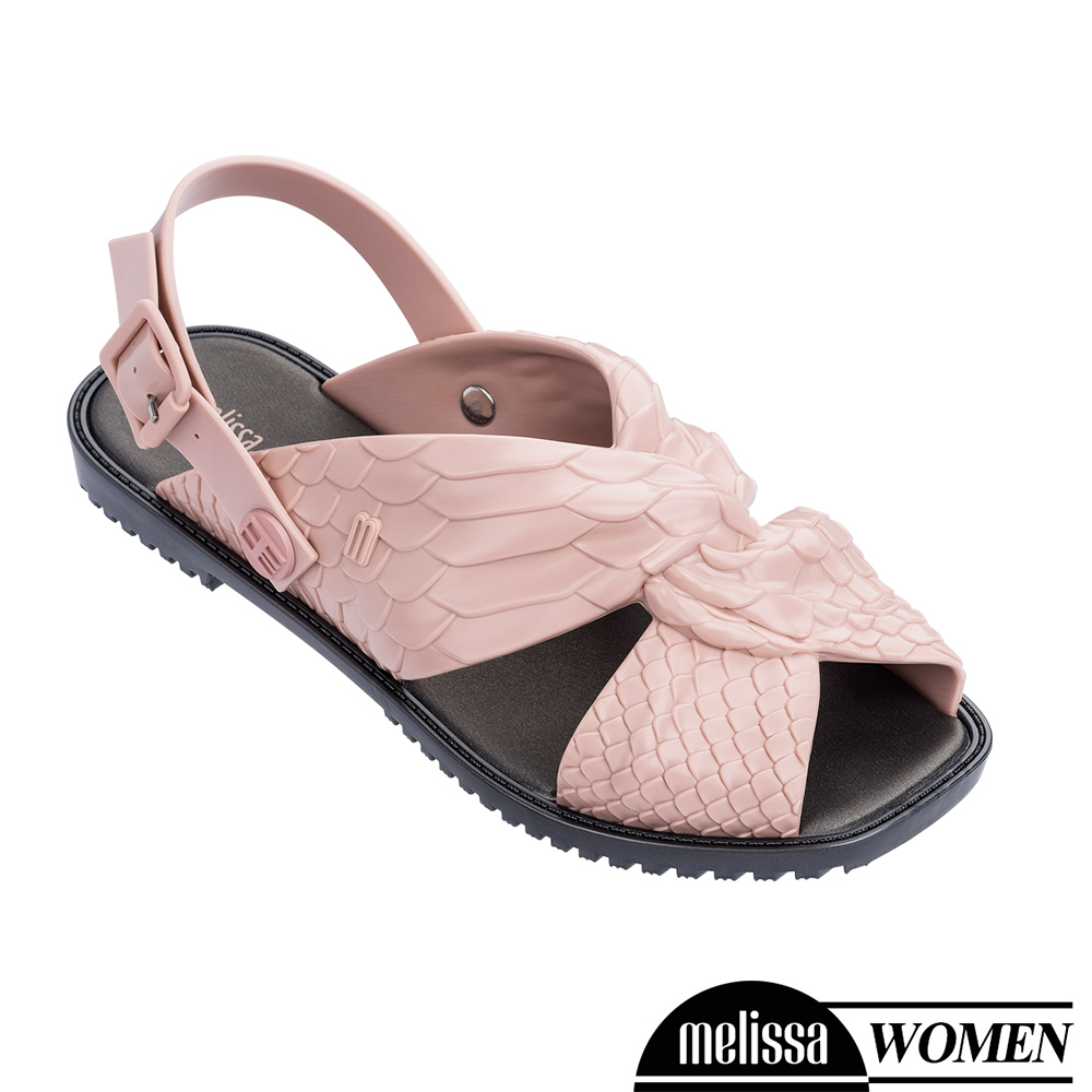 Melissa+Baja East 蟒蛇凸紋質扭結造型涼鞋-粉