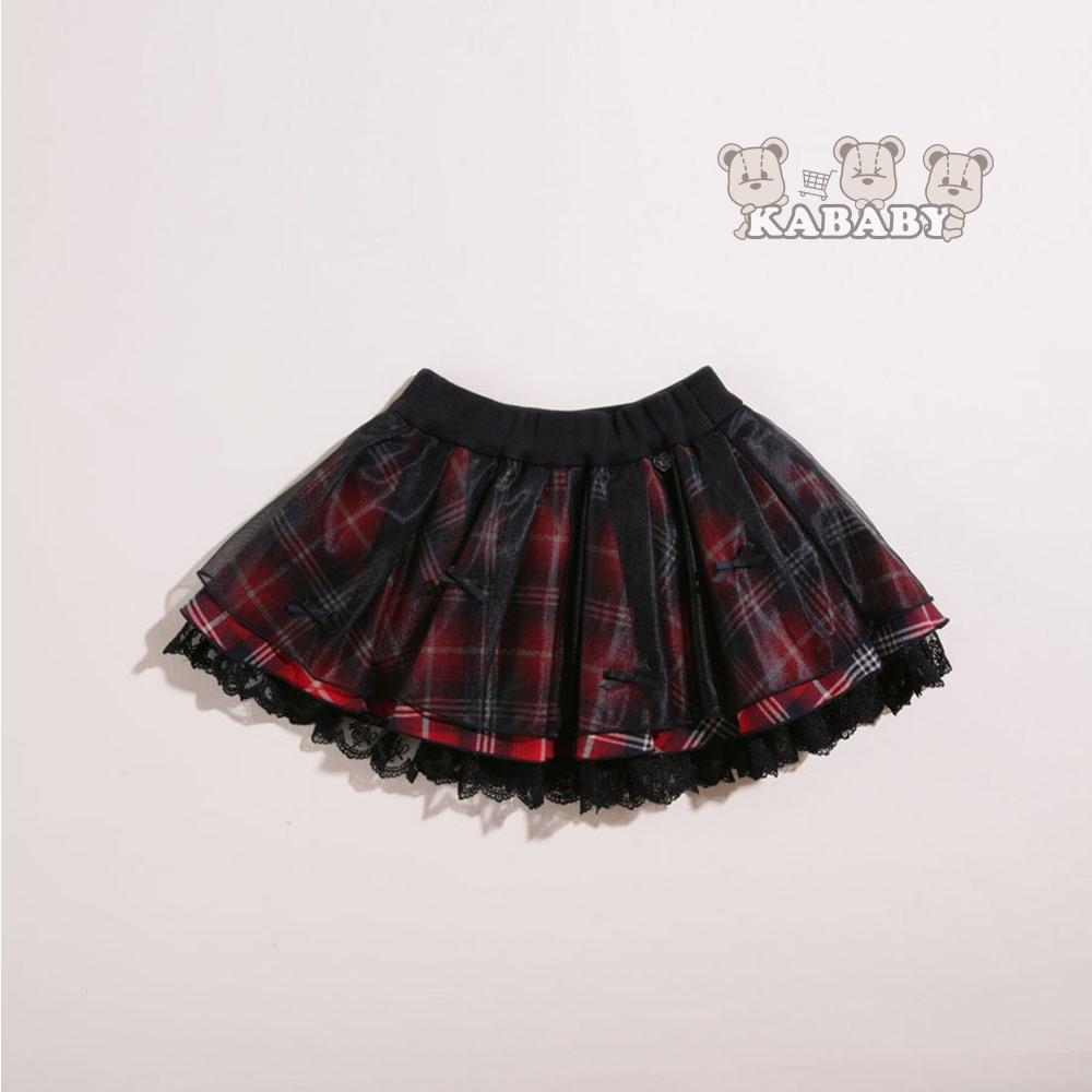 【金安德森】KA網紗格紋短裙 (紅色)