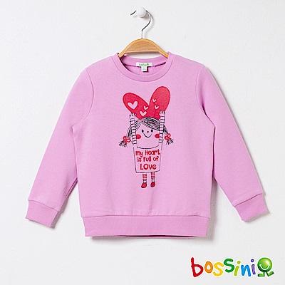 bossini女童-印花厚棉運動衫01丁香紫