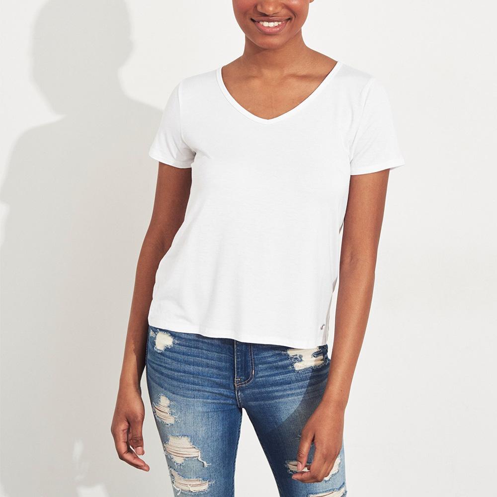 海鷗 Hollister HCO 經典刺繡海鷗V領素面短袖T恤(女)-白色