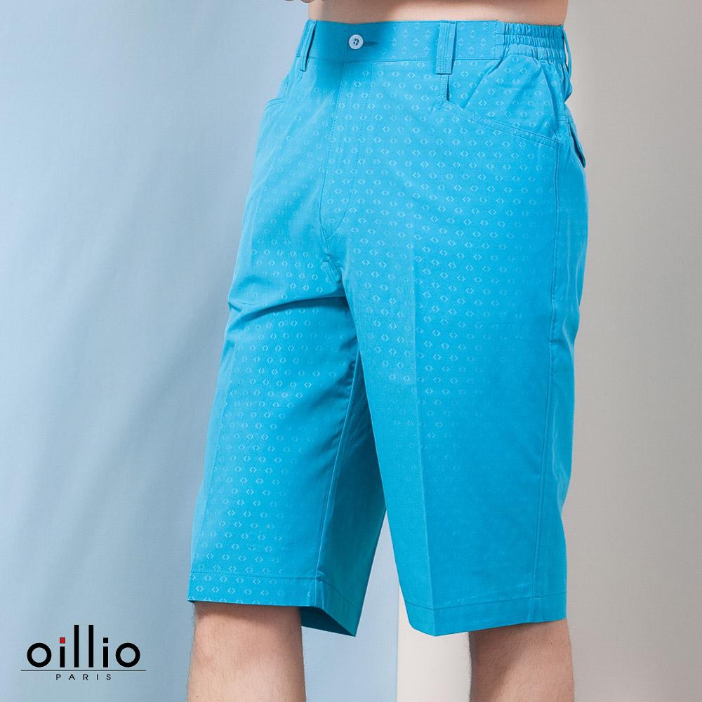 oillio歐洲貴族 休閒超柔布料短褲 點點花紋款式 藍色