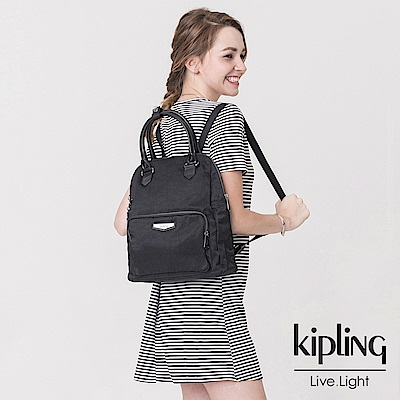 Kipling 後背包 素面都會黑-中