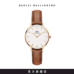 DW 手錶 官方旗艦店 28mm玫瑰金框 Classic Petite 淺棕真皮皮革錶