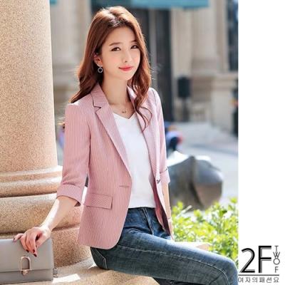 2F韓衣-韓系五分袖細條紋西裝外套-粉色(M-2XL)