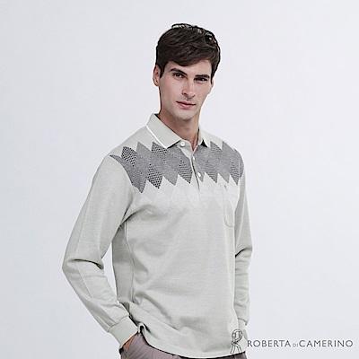 ROBERTA諾貝達 台灣製 時尚型男 菱格長袖POLO棉衫  綠