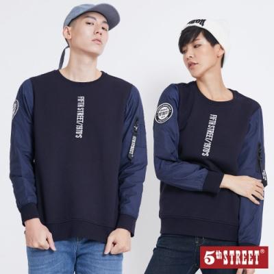 5th STREET 異素材LOGO 厚長袖T恤-中性-丈青