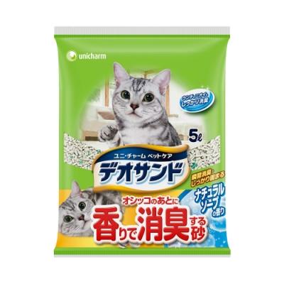 日本Unicharm消臭大師 尿尿後消臭貓砂-肥皂香 (5Lx4包/箱)