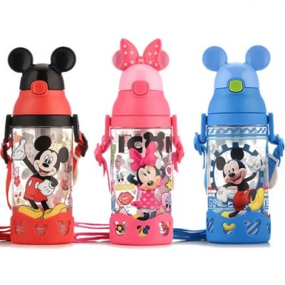 【優貝選】迪士尼 米奇 米妮 維尼 兒童吸管水壺 背帶水壺 500ML