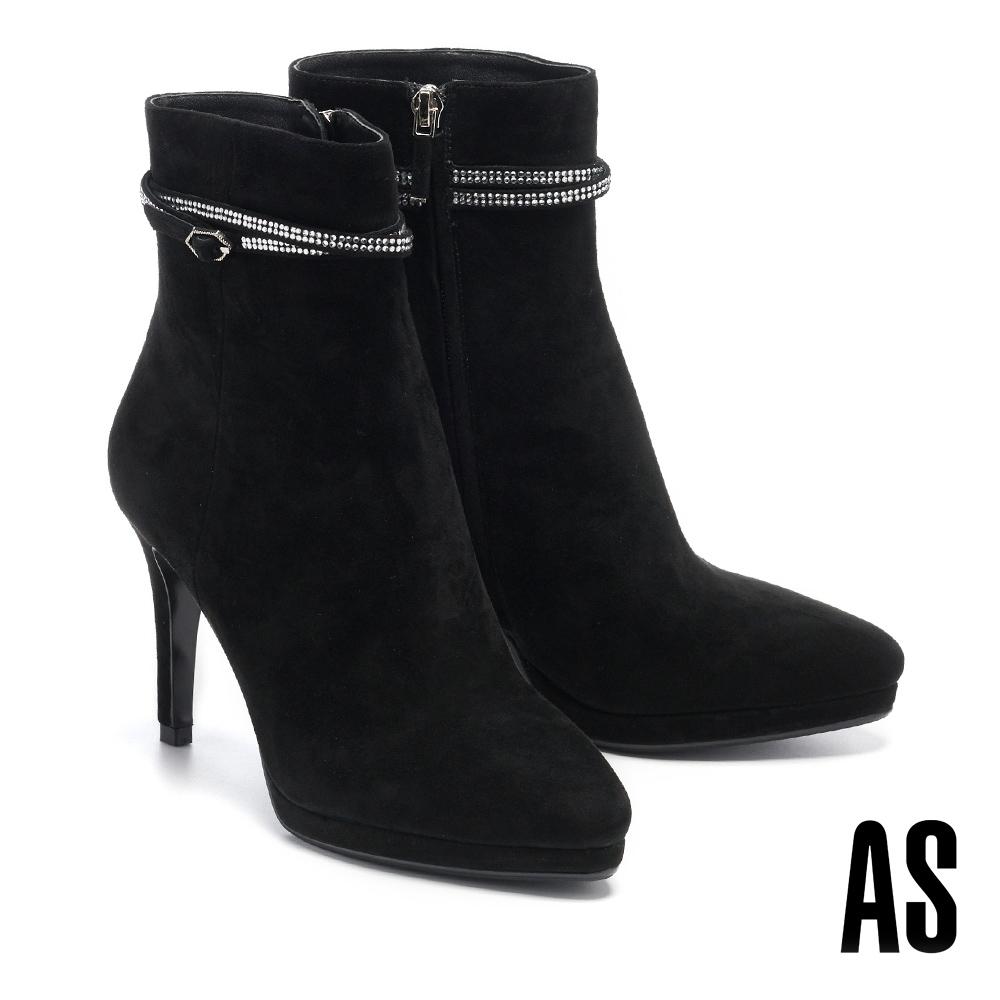 短靴 AS 輕奢魅力晶鑽環繞繫帶全真皮美型高跟短靴-黑