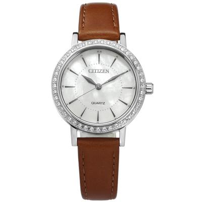 CITIZEN 珍珠母貝晶鑽鑲圈礦石強化玻璃日本機芯真皮手錶-銀白x褐/31mm