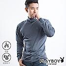 PLAYBOY 保暖衣 精梳棉保暖棉毛半高領長袖衫-單件-鐵灰