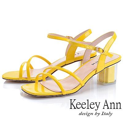 Keeley Ann造型透視跟 素雅線條中跟涼鞋(黃色-Ann系列)