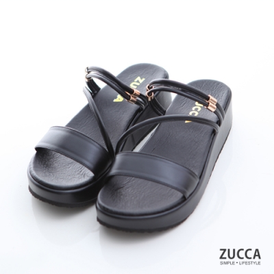ZUCCA-素色繞繩邊厚底拖鞋-黑-z7005bk