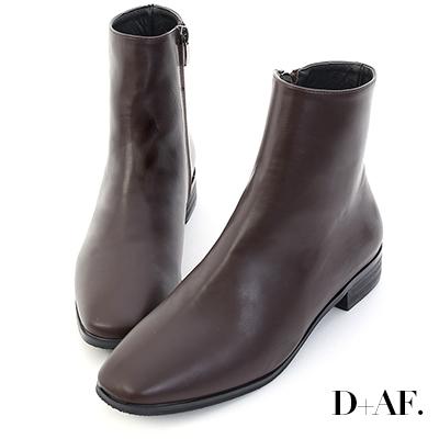 D+AF 極簡印象.素面小方頭平底短靴*咖