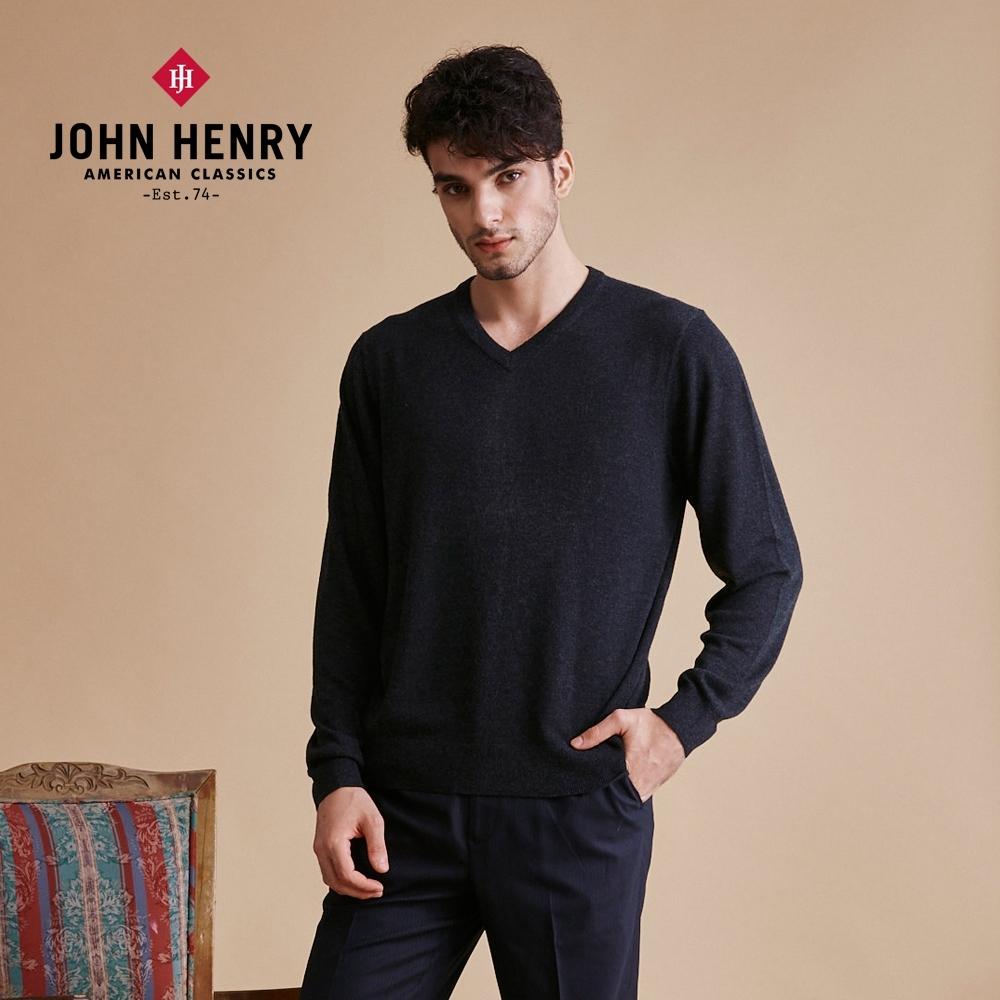 【JOHN HENRY】美麗諾羊毛V領毛衣-五色選