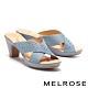 拖鞋 MELROSE 質感雅緻晶鑽交叉造型高跟拖鞋-藍 product thumbnail 1