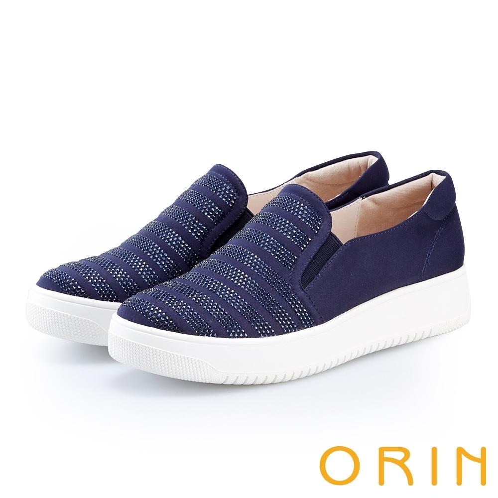 ORIN 閃耀燙鑽休閒平底便鞋 藍色