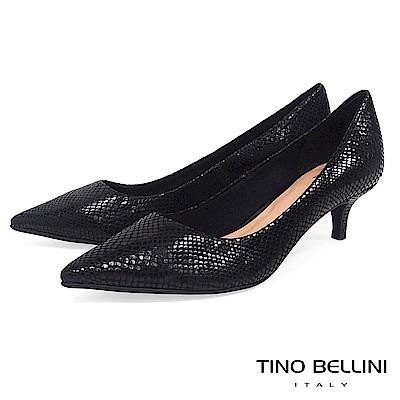 Tino Bellini 巴西進口自然立體蛇紋尖楦跟鞋 _ 黑