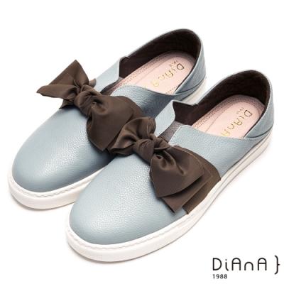 DIANA甜美大蝴蝶結V字鞋口輕量休閒鞋-漫步雲端厚切輕盈美人-咖x灰藍