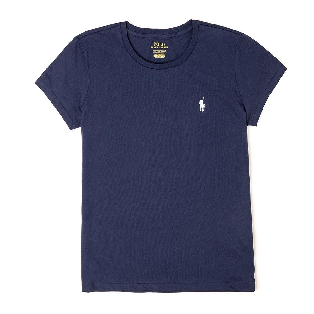 Polo Ralph Lauren 經典小馬圓領素面短袖T恤(女)-深藍色