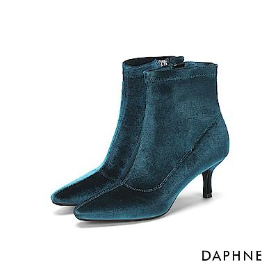 達芙妮DAPHNE 短靴-絨面素色拼接高跟短靴-綠