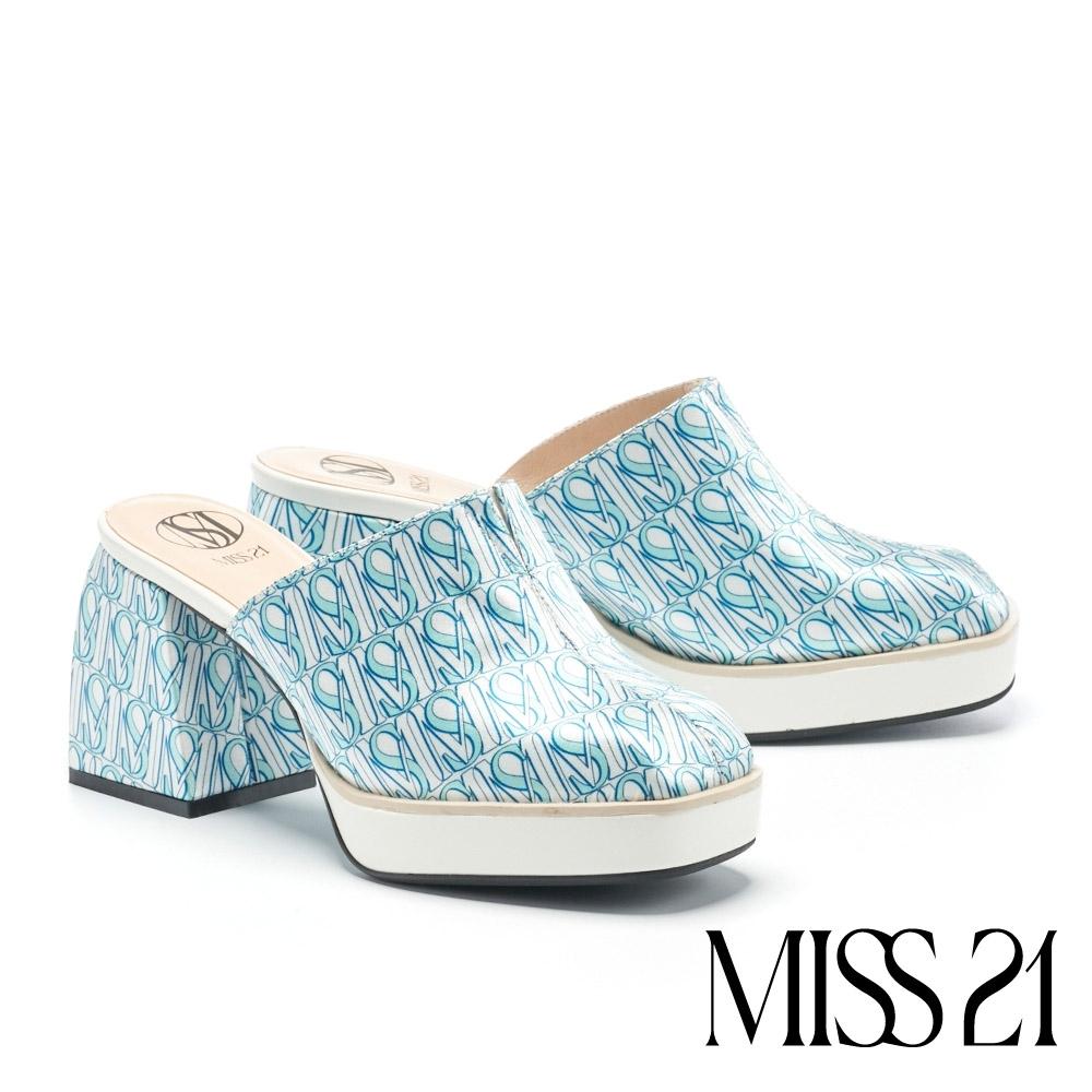 拖鞋 MISS 21 個性叛逆復古方頭胖胖粗高跟穆勒拖鞋-藍