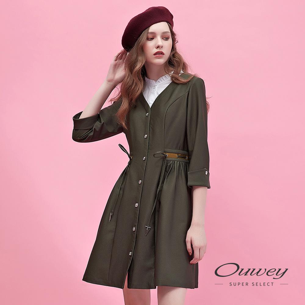 OUWEY歐薇 假兩件式造型腰部抽繩七分袖洋裝(綠)