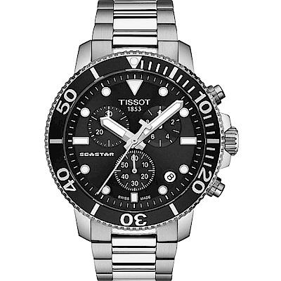 TISSOT Seastar 海星300米潛水石英錶-黑鋼-T1204171105100