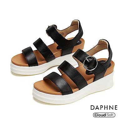 達芙妮DAPHNE 涼鞋-簡約羅馬撞色厚底楔型涼鞋-黑色