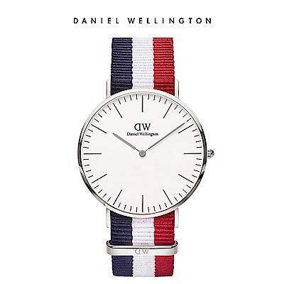 DW 手錶 官方旗艦店 40mm銀框 Classic 經典藍紅織紋錶