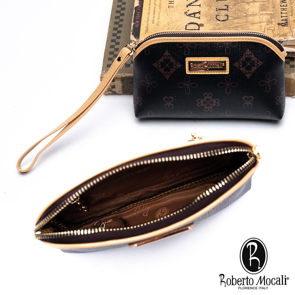 Roberto Mocali - 義大利諾貝兔典雅印花2卡鑰匙零錢手挽小包