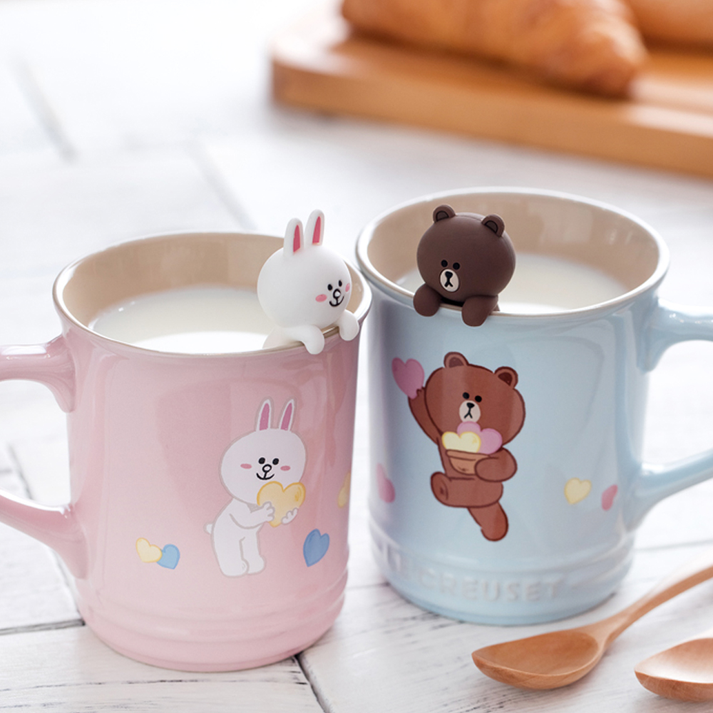 LE CREUSETxLINE FRIENDS瓷器咖啡杯2入(海岸藍/雪紡粉)
