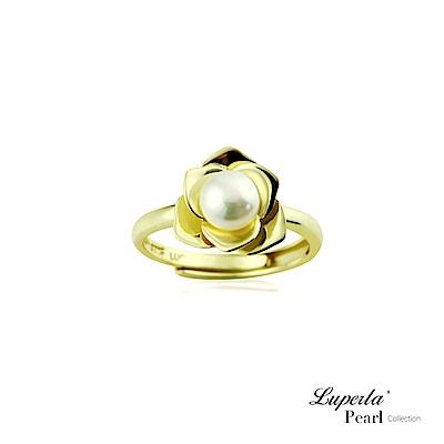 大東山珠寶 純銀天然珍珠戒指 金色玫瑰