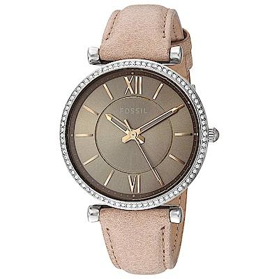 FOSSIL 光潤美鑽羅馬皮革女錶(ES4343)-灰褐色x35mm