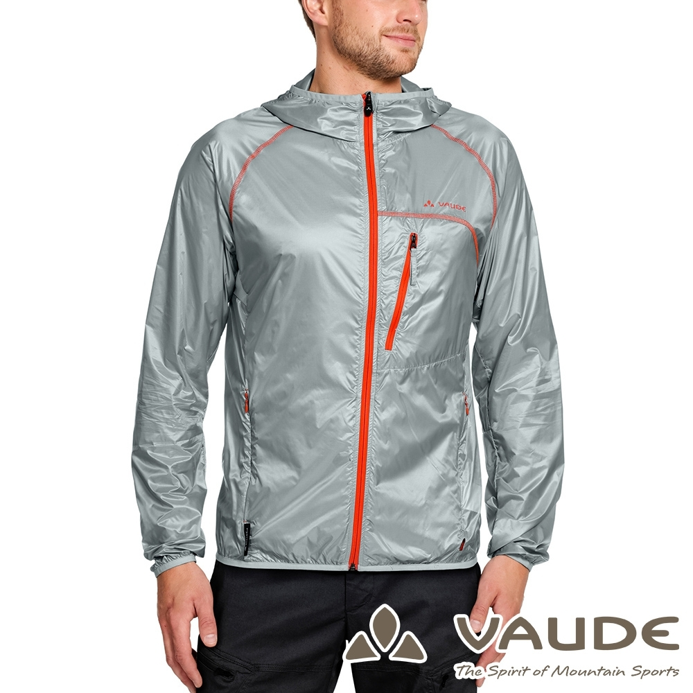 【VAUDE德國】男輕量彈性抗風超薄風衣外套 VA-06961銀灰/休閒運動穿搭