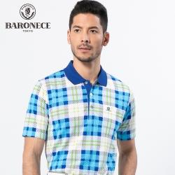 BARONECE 百諾禮士休閒商務  男裝  吸濕排汗格紋印花短袖POLO衫-藍色(1188287-36)