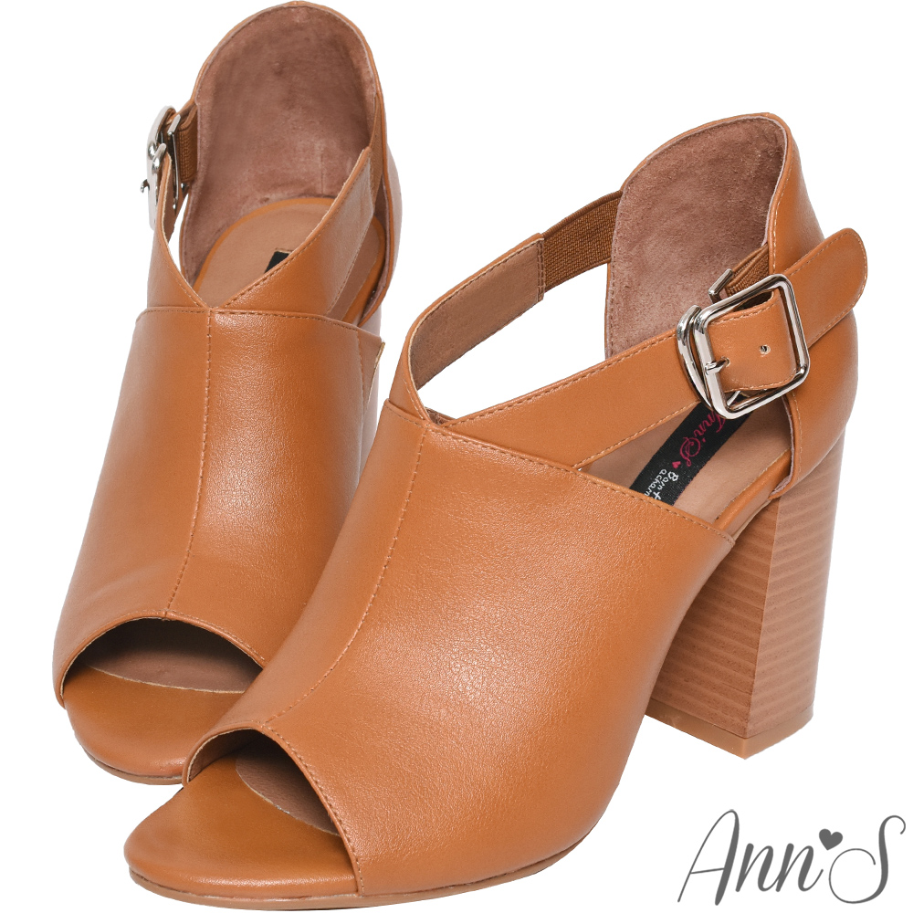 Ann'S打造激瘦體態-V口剪裁粗跟踝靴-棕(版型偏大)