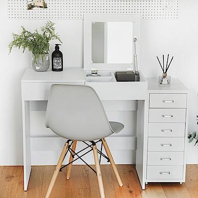 完美主義 質感木紋掀蓋式化妝桌/書桌/化妝台/附抽(2色)