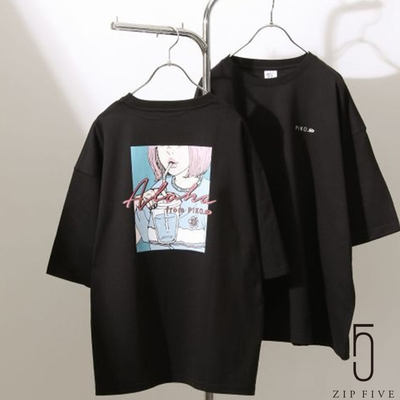 ZIP日本男裝 PIKO盛夏少女插畫印刷寬版TEE (7色)