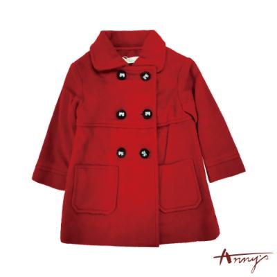 Annys安妮公主-高級皇家精緻蝴蝶結釦雙口袋秋冬款混羊毛大衣*6676紅色