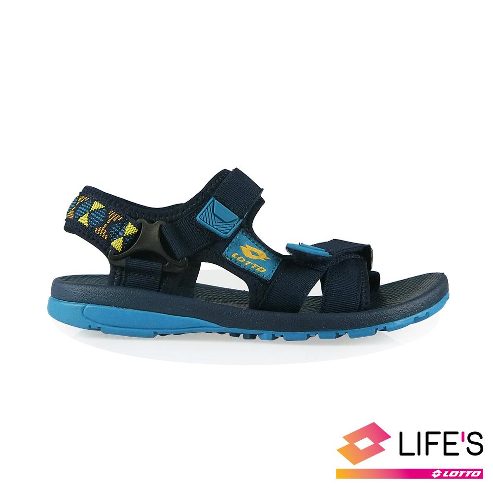 LOTTO 義大利 童 流行織帶涼鞋 (丈青)