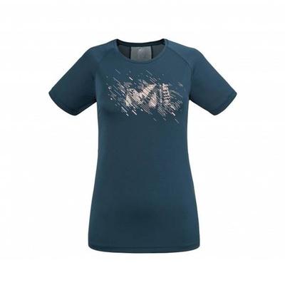 MILLET 女 LTK PRINT LIGHT 輕量彈性短袖排汗衣 靛藍-MIV86928737