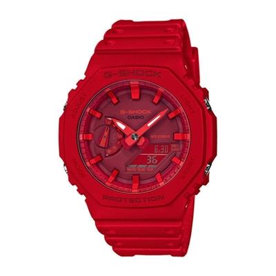 CASIO 卡西歐 G-SHOCK 雙顯手錶GA-2100-4A-紅/48.5mm